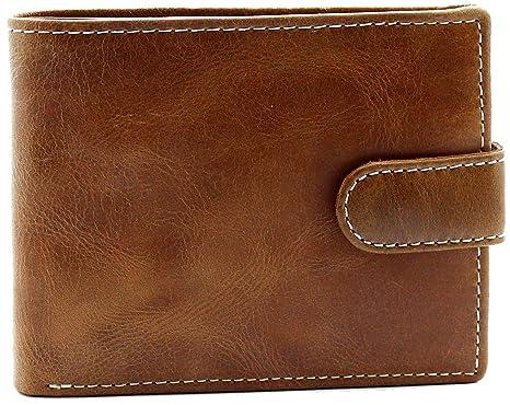 Topsum London RFID Carteras Premium de Cuero Genuino para Hombres - Monedero - Caja de Regalo - 4019 - Marrón