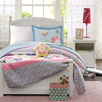 Mi Zone Kids Crazy Daisy Twin Bedding For Girls Quilt Set - Sky Blue, Pink , Flowers, Butterfly – 3 Piece Kids Girls Quilts – Ultra Soft Microfiber Quilt Sets Coverlet: Home & Kitchen