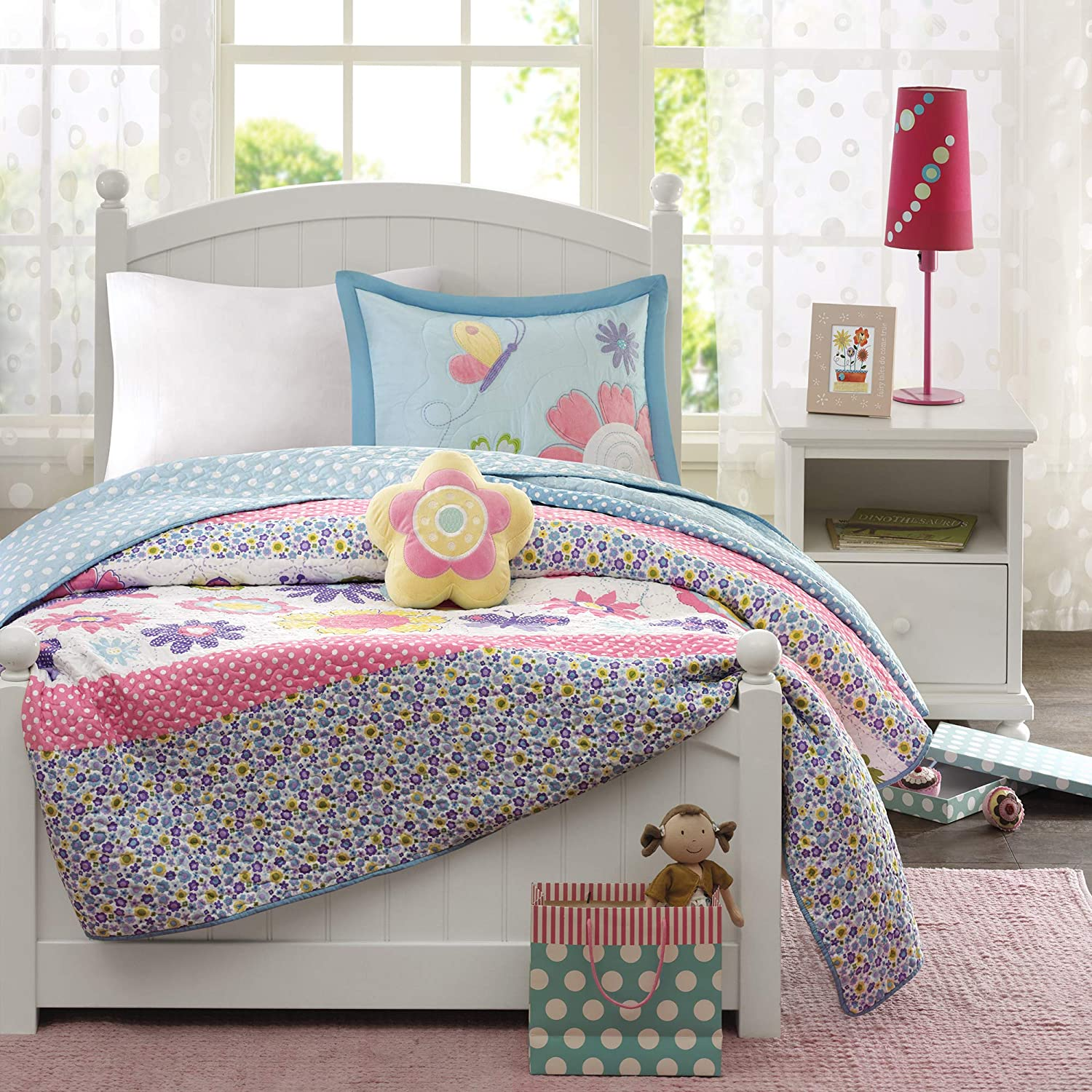 Mi Zone Kids Crazy Daisy Twin Bedding For Girls Quilt Set - Sky Blue, Pink , Flowers, Butterfly – 3 Piece Kids Girls Quilts – Ultra Soft Microfiber Quilt Sets Coverlet