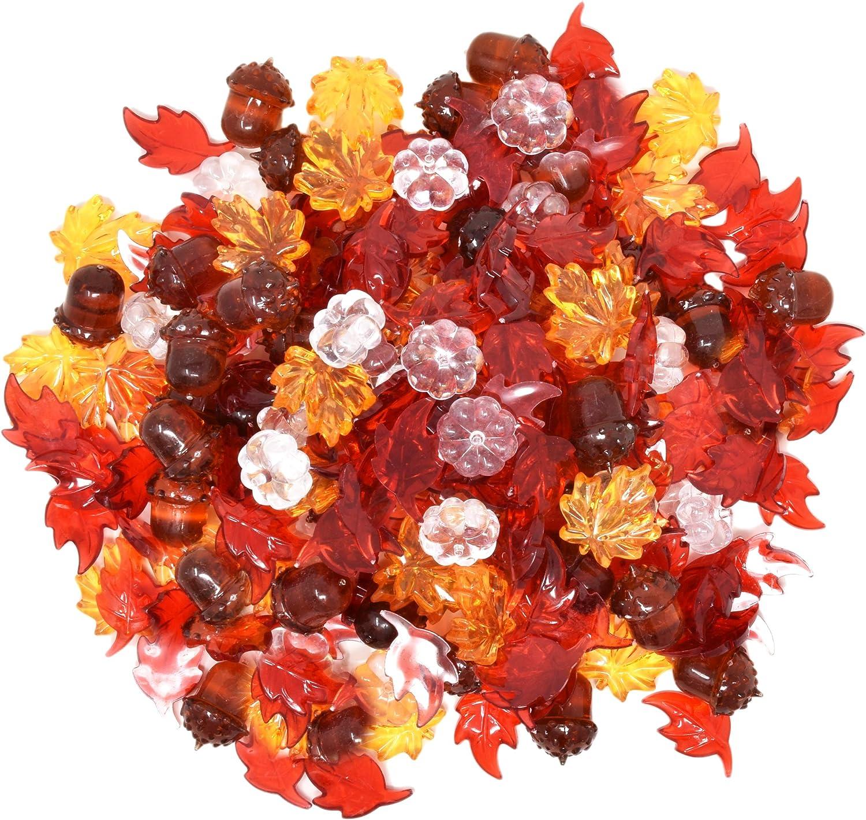 Amazon Com 210 Mini Acrylic Fall Maple Leaves Pumpkins Acorns