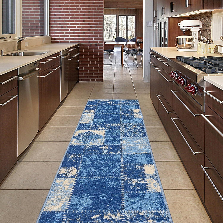 Diagona Designs Contemporary Patchwork Design Non-Slip Kitchen/Bathroom / Hallway Area Rug Runner, 20 W x 59 L, Blue/Beige 20 W x 59 L ANN1075-2X5
