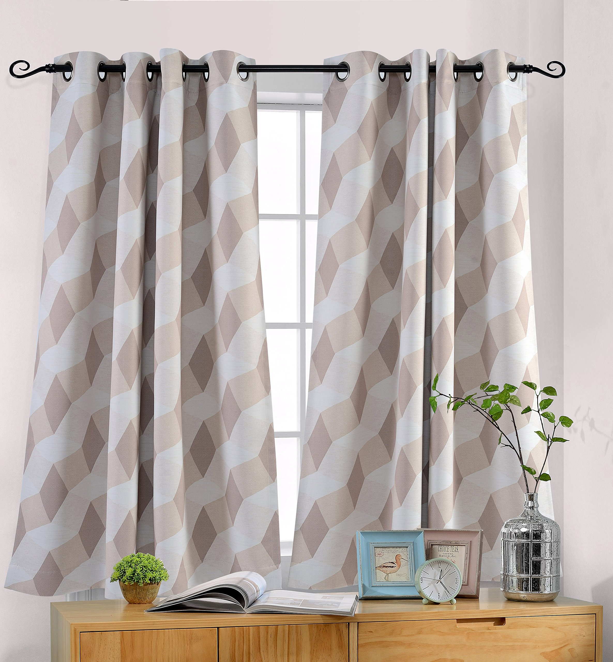 MYSKY HOME 3D Geometry Fashion Design Print Thermal Insulated Blackout Curtain with Grommet Top for Dining Room, 52 by 63 inch, Beige - 1 Panel