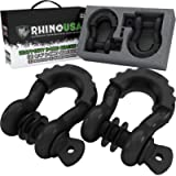 "Rhino USA D Ring Shackle (2 Pack) 41,850lb Break Strength – 3/4"" Shackle with 7/8 Pin for use with Tow Strap, Winch, Off…"