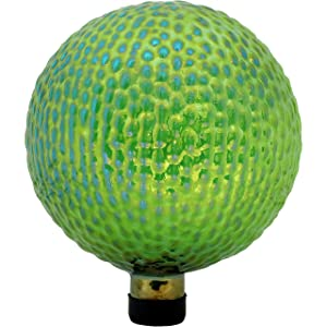 Sunnydaze Green Textured Gazing Globe Glass Garden Ball, Outdoor Lawn and Yard Ornament, 10-Inch