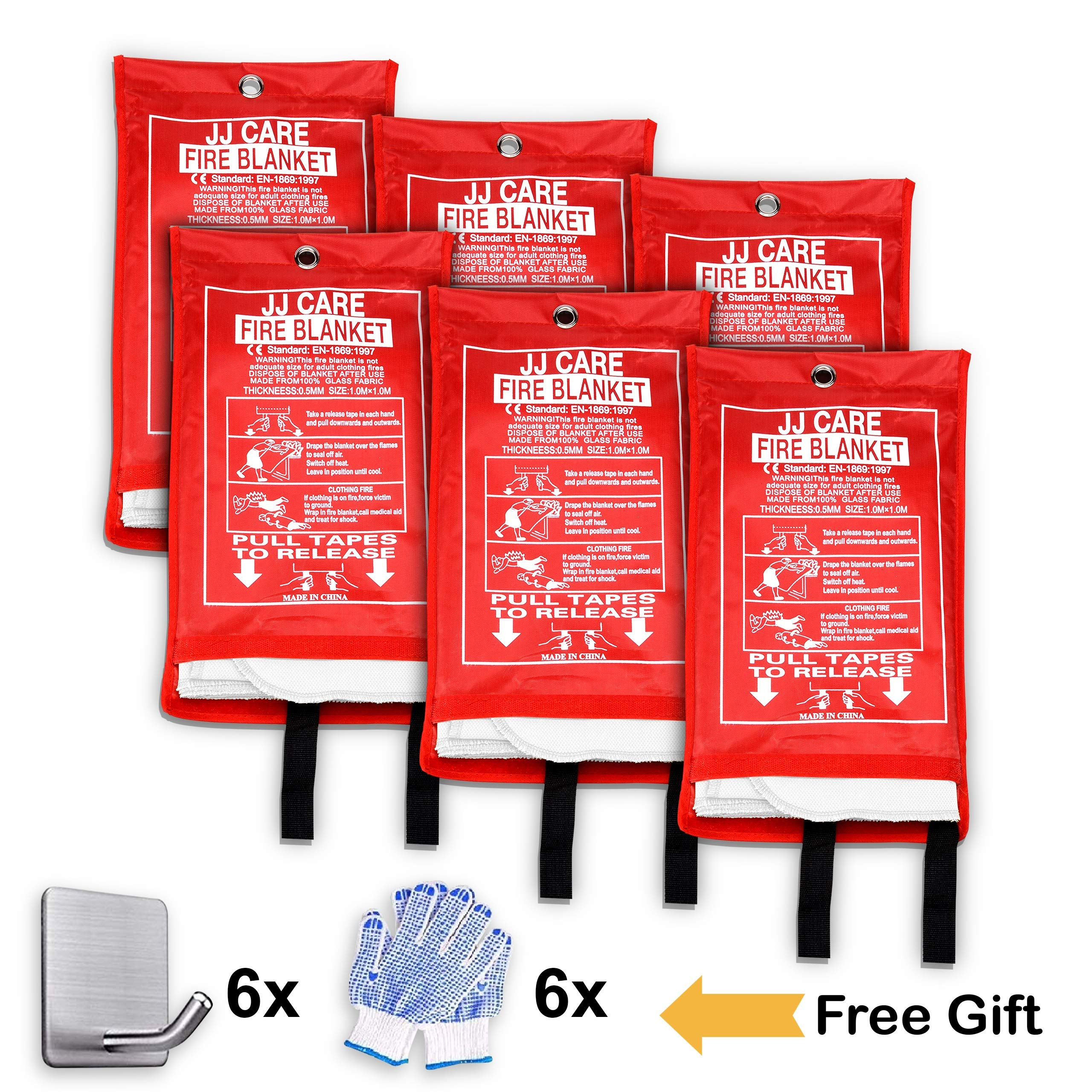 JJ CARE [Pack of 6] Fire Blanket Fire Suppression Blanket + Fire Protective Gloves + Hooks -Suitable for Camping, Grilling, Kitchen Safety, Car and Fireplace Retardant Blanket for Emergency by JJ CARE