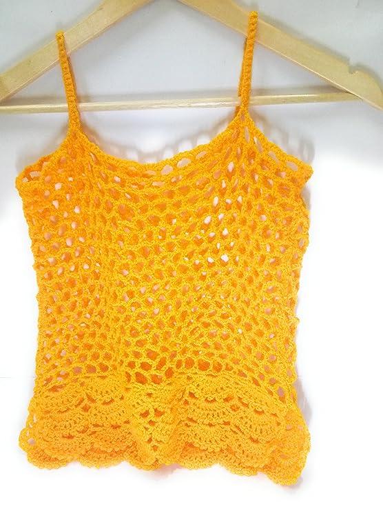 8a6e89fb71fc5 Tutu Handmade Crochet Tank Top  Amazon.in  Clothing   Accessories