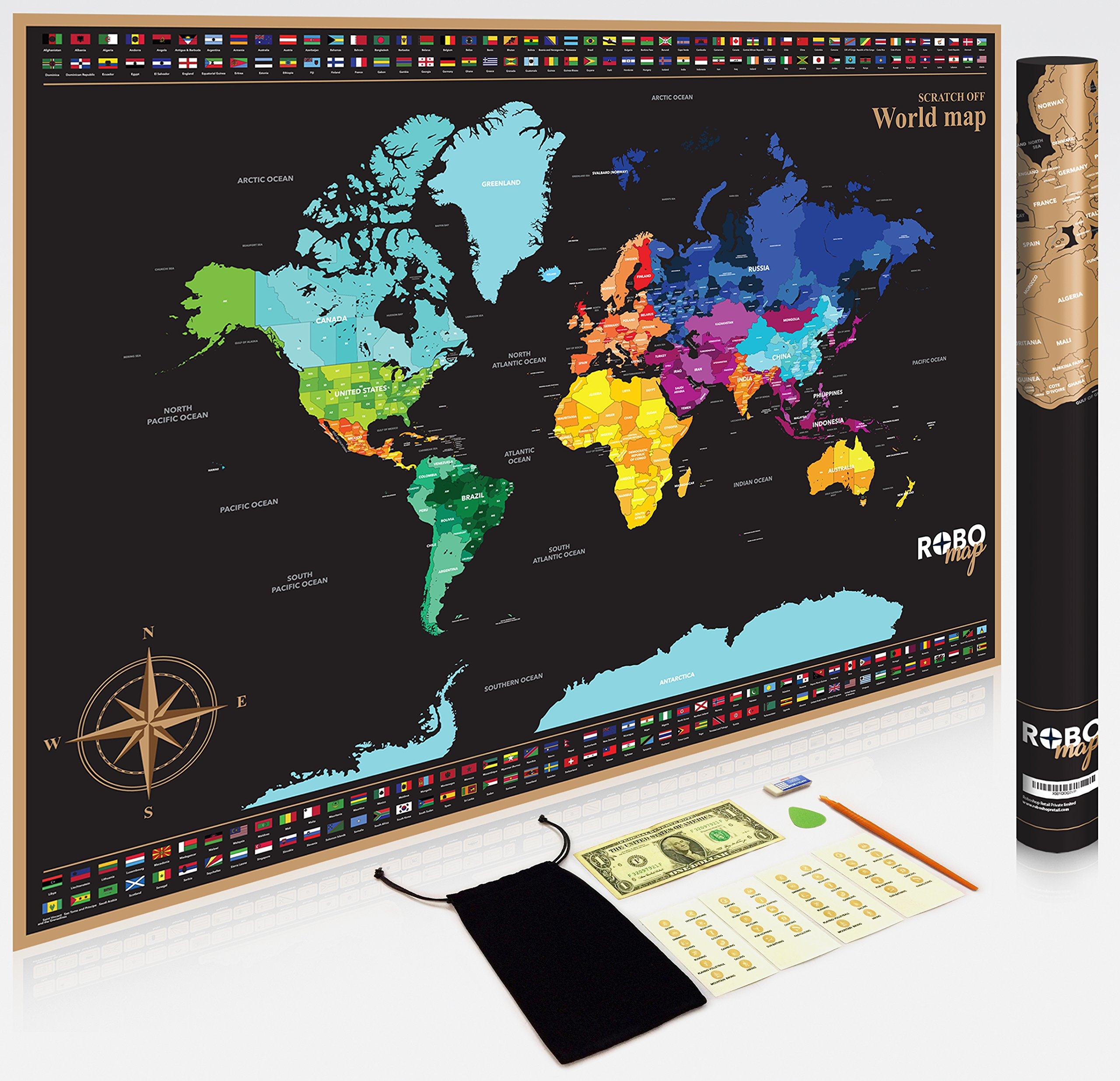"Premium Extra Large 32.5"" x 23.4"" Scratch Off Map of The World 