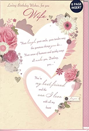 Wife Birthday Card Loving Wishes For You Quality Large 8 Page Insert Amazoncouk Garden Outdoors