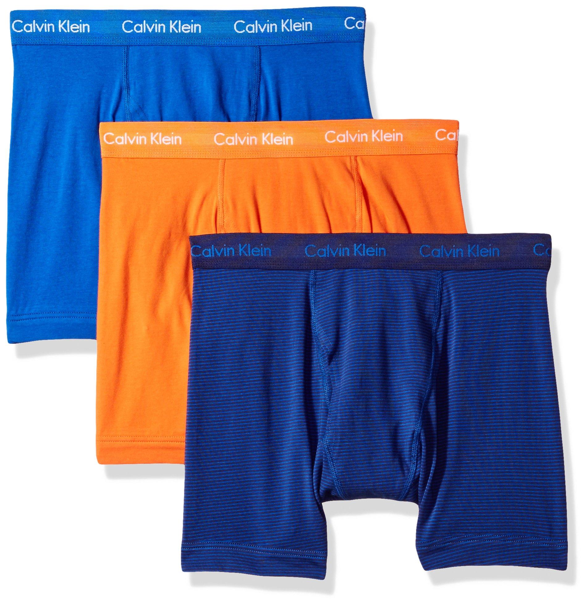 Calvin Klein Men's Underwear Cotton Stretch 3 Pack Boxer Briefs, Muscari Blue/Blue Ribbon/Muscari Blue Stripe/Deep Sunset, Medium