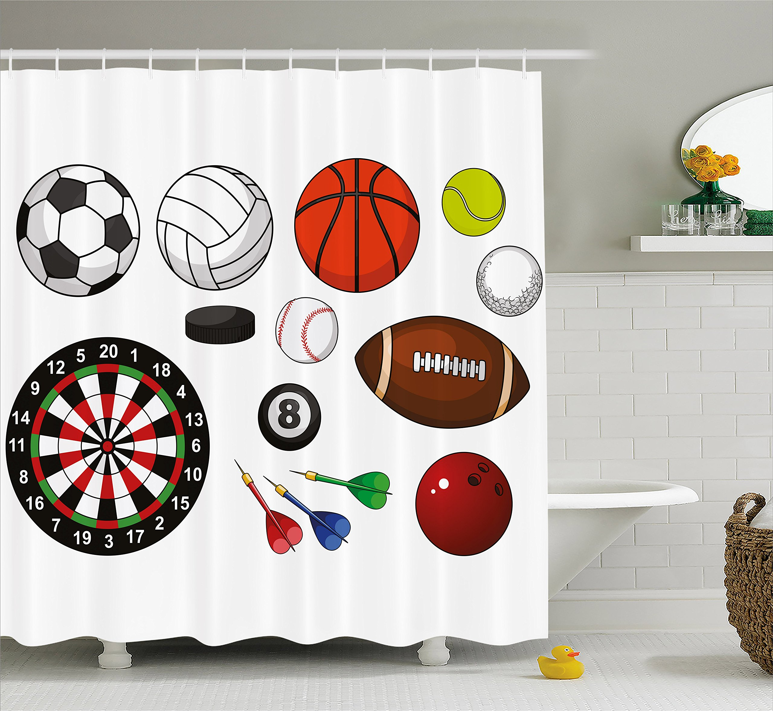 Lunarable Boy's Room Shower Curtain, Variety of Sports Icons Different Games Balls Dartboard Hockey Puck and Pins, Fabric Bathroom Decor Set with Hooks, 84 inches Extra Long, Multicolor