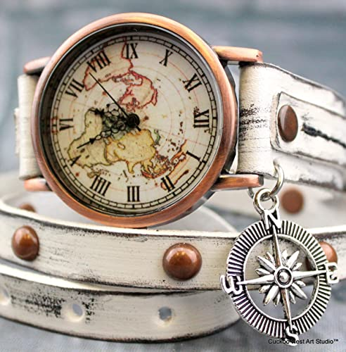 Amazon.com: Copper World Map Watch with Compass Charm, White ...