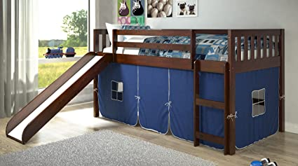 Bunk bed with stairs and slide Kids Donco Kids Twin Mission Blue Tent Loft Bed With Slide Amazoncom Amazoncom Donco Kids Twin Mission Blue Tent Loft Bed With Slide