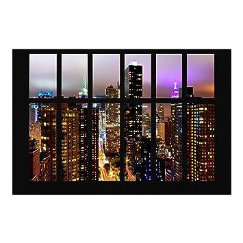 Papier Peint Intissé Fenêtre New York Moonlight Panoramique