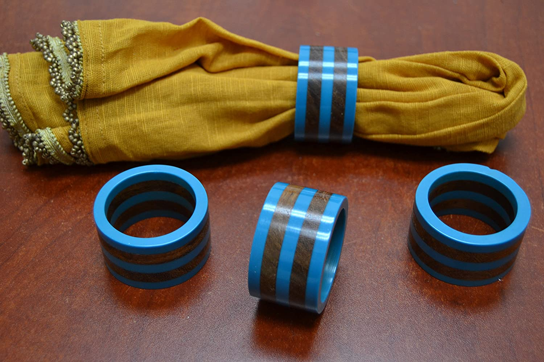 Aqua 4個とコバルトブルー樹脂木製ナプキンリングセット   B01E9HTB5Y