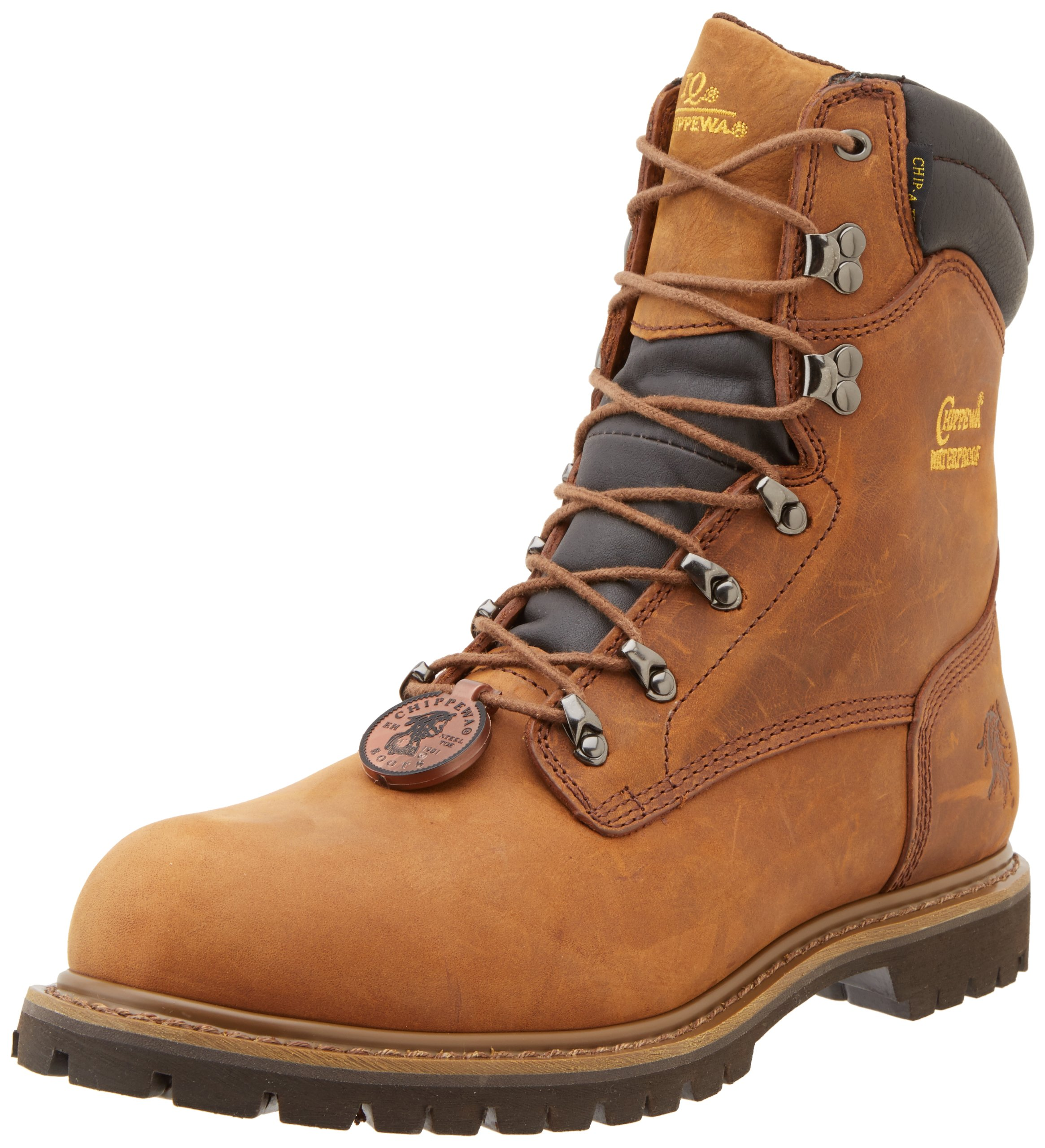 Chippewa Men's 8'' Waterproof Insulated Steel Toe 55069 Lace Up Boot,Brown,8 M US