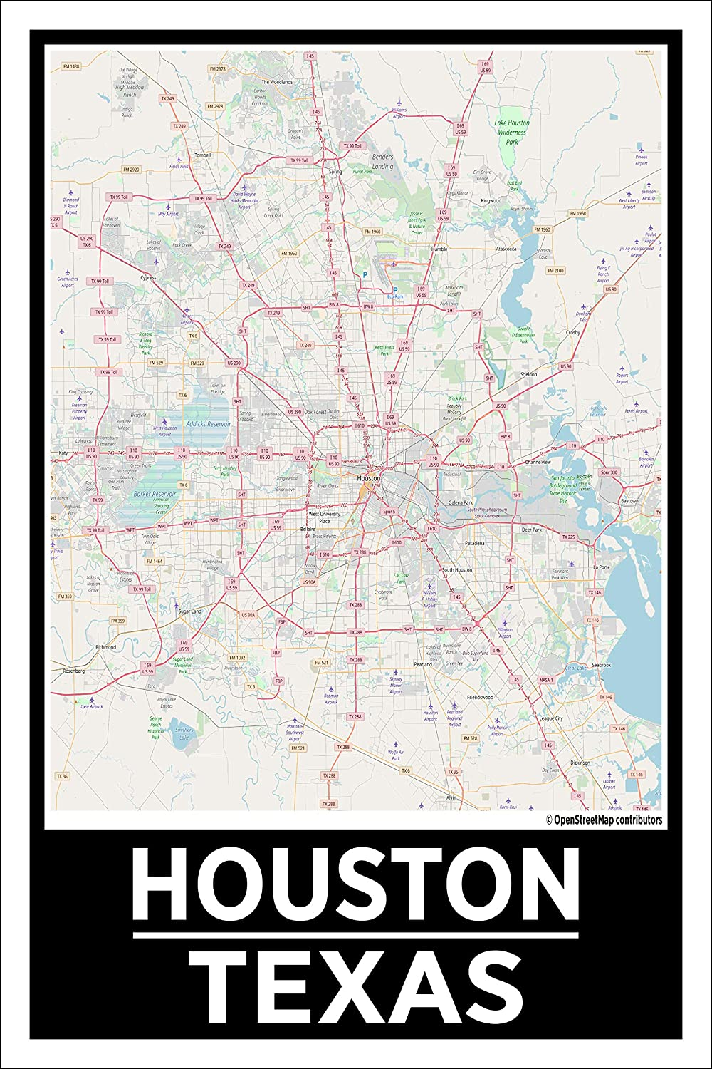 Map Of Texas 99.Amazon Com Spitzy S Houston Texas 12 By 18 Inch City Map Poster