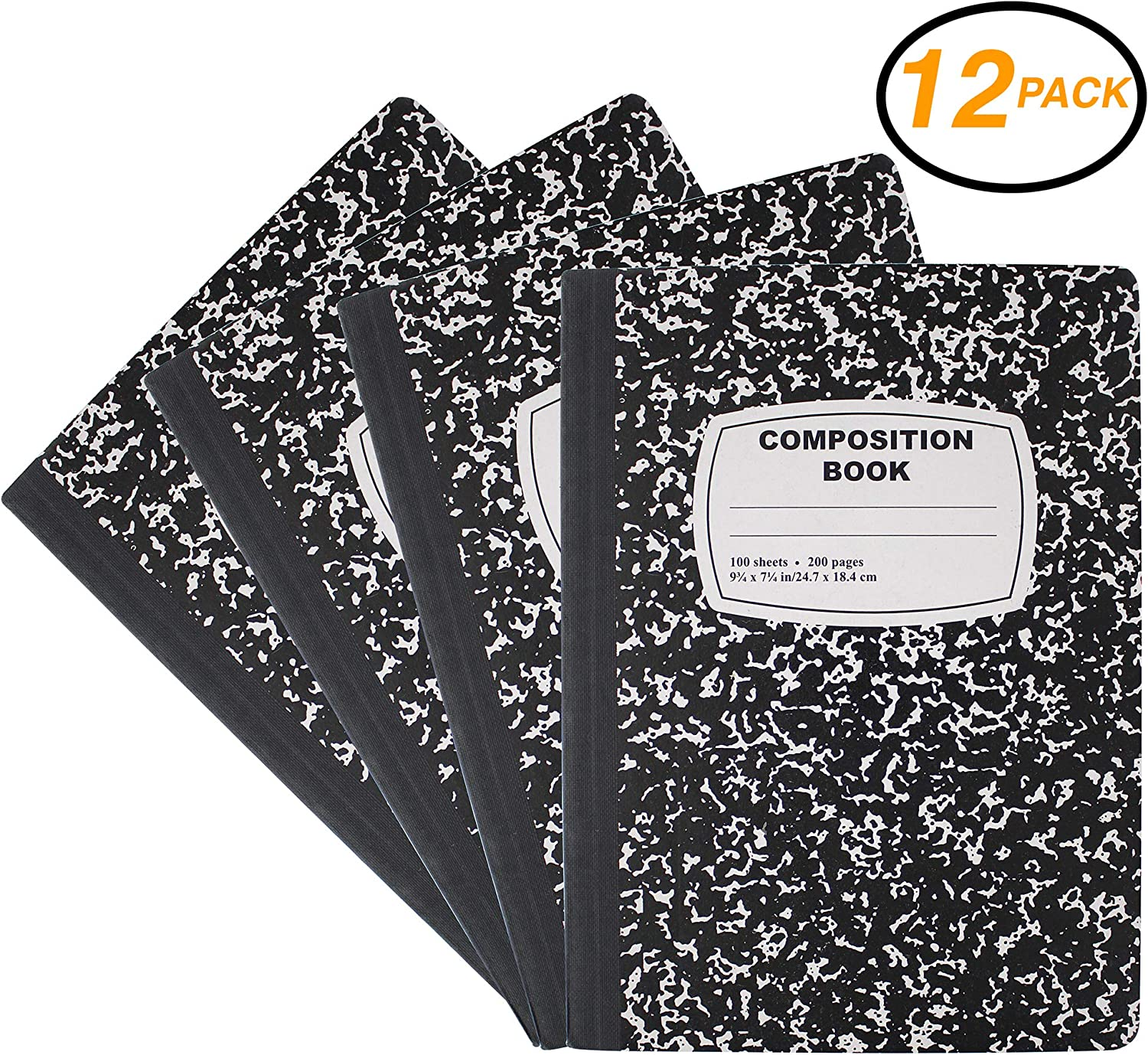 Emraw Black /& White Marble Style Cover Composition Book with 100 Sheets of Wide Ruled White Paper 12 Pack