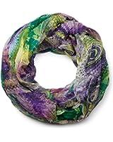 styleBREAKER Ethno Batik Muster Loop Schlauchschal, Crash and Crinkle, seidig leicht, Damen 01016087
