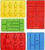 Moldes de Silicona en Forma de Lego - Juego de 5 Bandejas de Cubitos para Hielo, Molde de Dulces, Chocolate y Más – Para Fiestas de Niños - Diseño de Herramientas y Bloques de Construcción