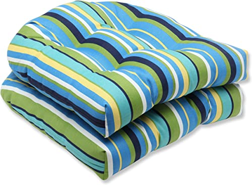 Pillow Perfect Outdoor Indoor Topanga Stripe Lagoon Tufted Seat Cushions Round Back , 19 x 19 , Blue, 2 Pack