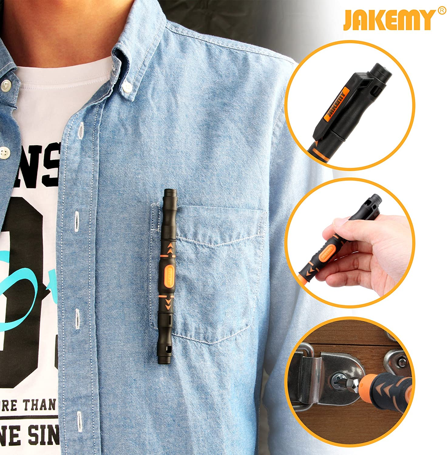 3 PACK Jakemy Precision Multibit Pocket Screwdriver with 4 Assorted Bits