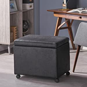 Christopher Knight Home 305569 Tina Traditional Microfiber Storage Ottoman for Home or Office, Black