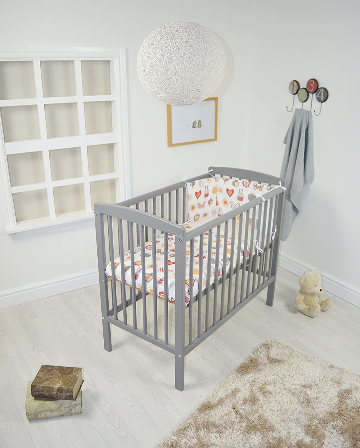 A B C SPACE SAVER COT / SMALL - LITTLE COT - MINI COT / GREY + MATTRESS