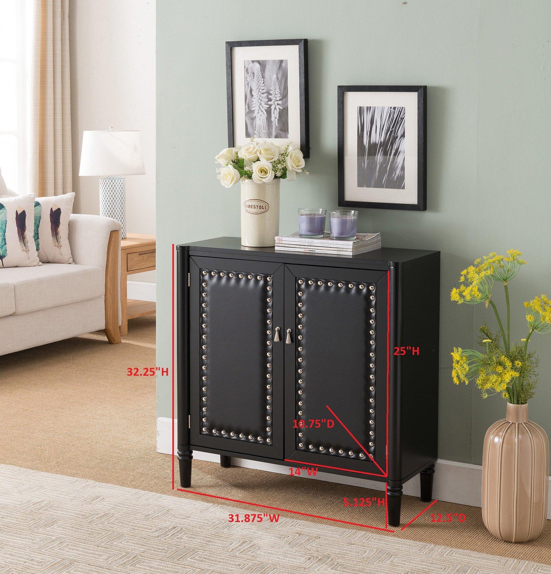 Kings Brand Furniture 2 Door Entryway Console Table Accent Cabinet, Black by Kings Brand Furniture (Image #2)