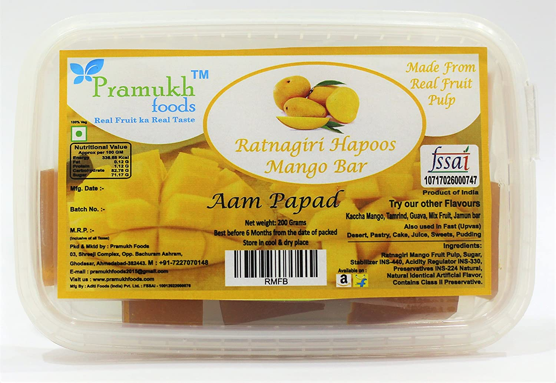 2ada20c2c Pramukh Foods Ratnagiri Hapoos Mango Bar (Aam Papad) 200 Grams
