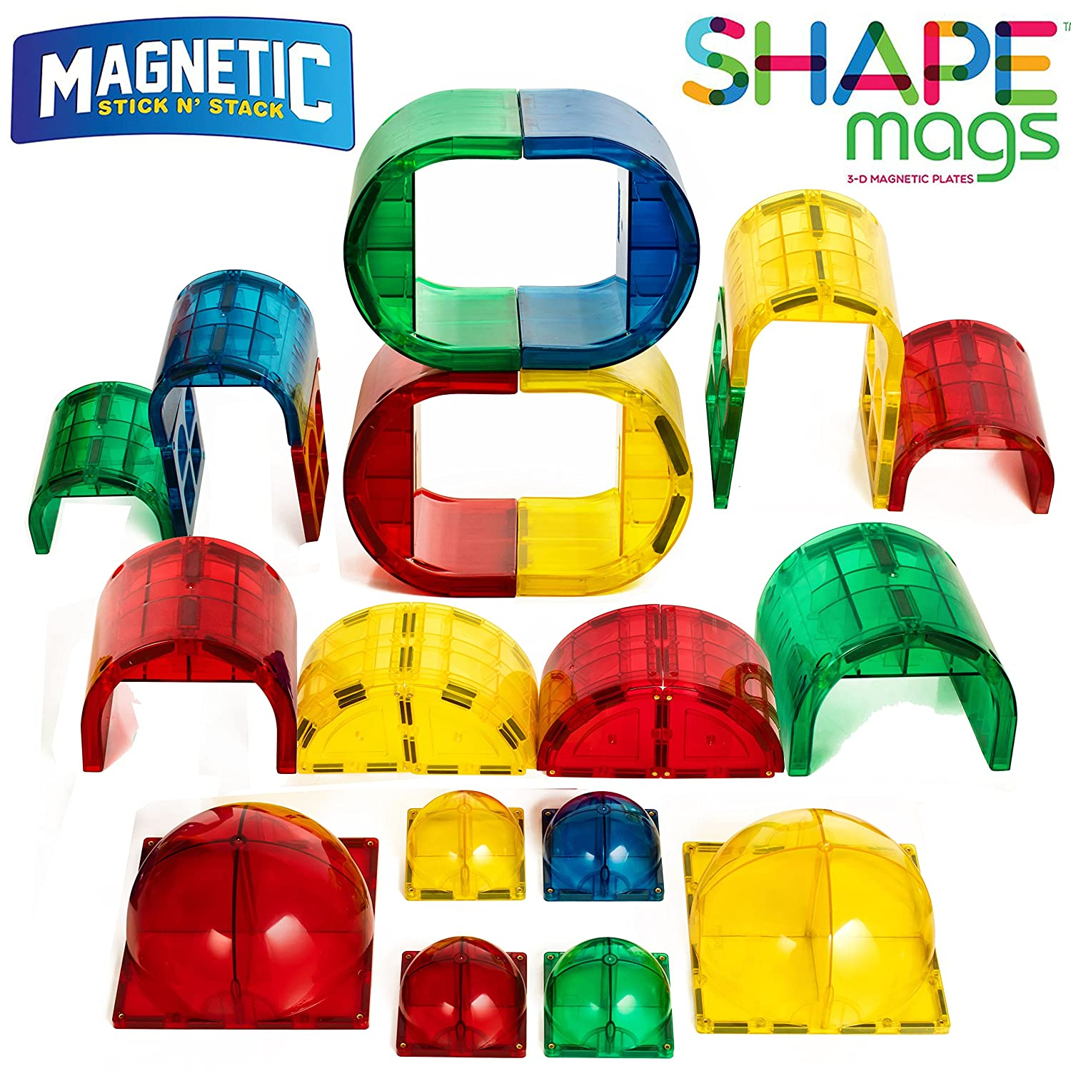 Shape Mags 30 Piece Round set 6X6 Domes 3X3 Domes Arches Tunnels & Rounded Windows With Super Strong Magnets Clear Color Magna Tiles Compatible Review