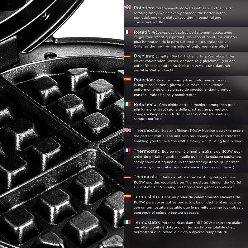 Duronic WM11 /SS Gaufrier rotatif en inox 1100W pour préparation ...