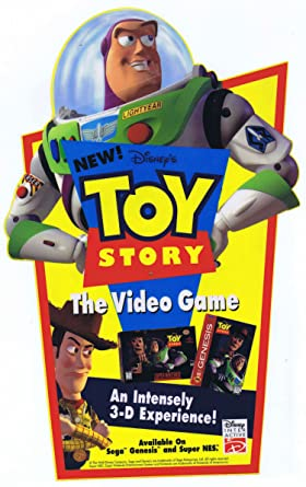 Toy Story Sega Genesis Full Color Vinyl Toys R Us Cling Disney 1995