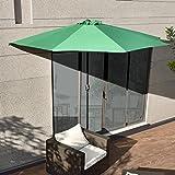 [casa.pro]® Sonnenschirm mit Kurbel Grün halbrund Ø300cm groß Balkon Garten