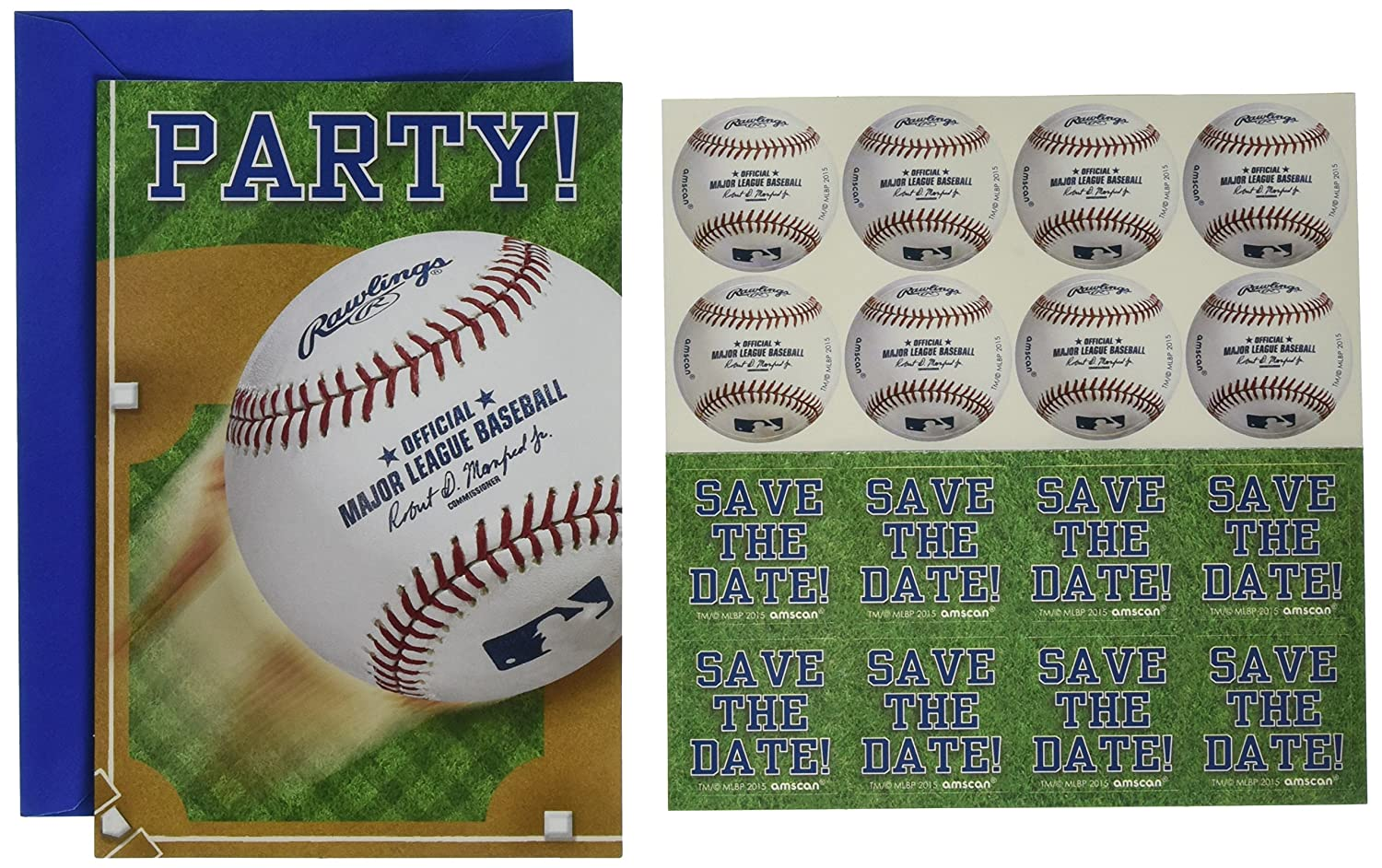 Amscan Rawlings Baseball Collection Postcard Party Invitations 48 Ct.