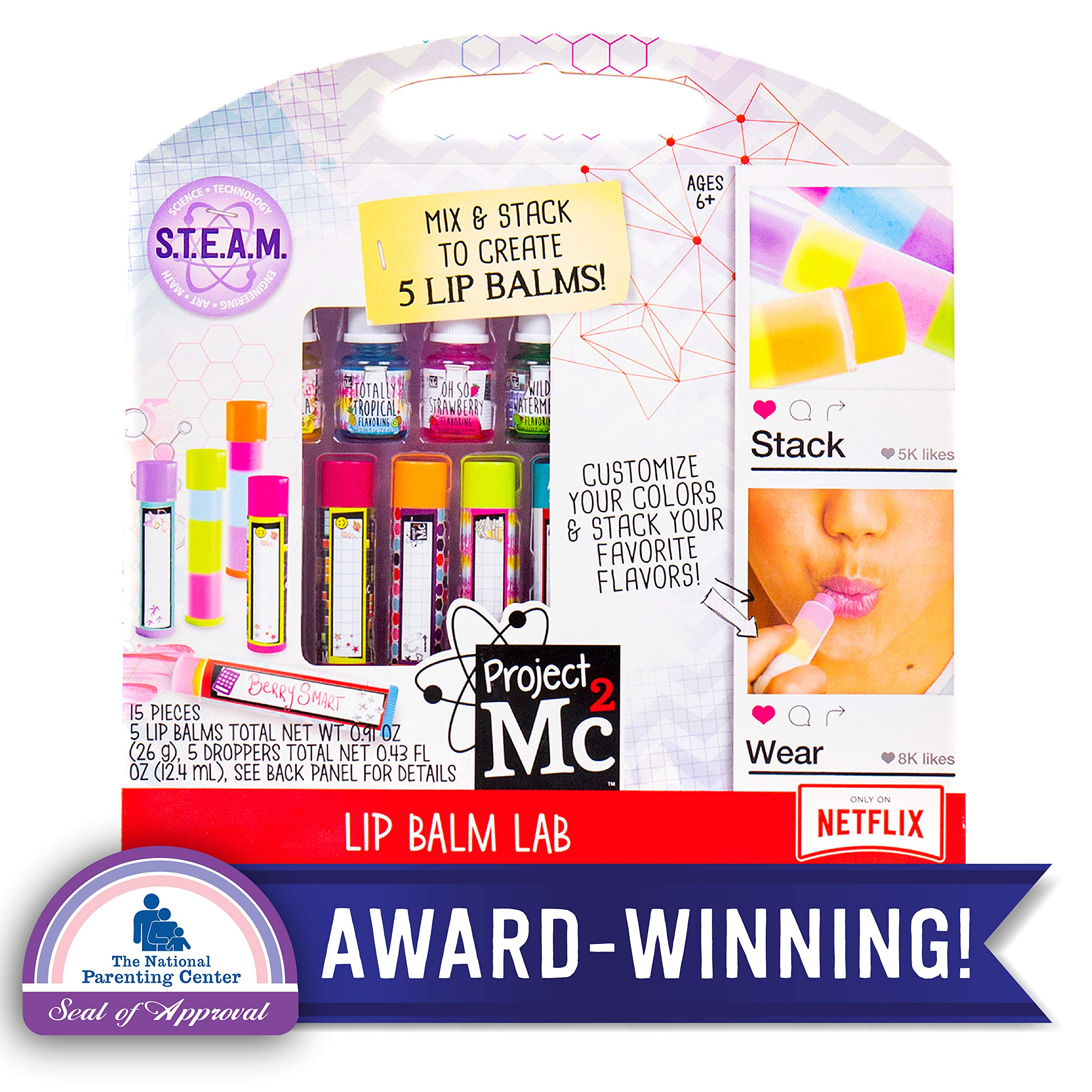 Project Mc2 Create Your Own Lip Balm Lab by Horizon Group USA, DIY STEM Science Kit, Mix & Make Your Own 5 Flavored Lip balms, Multicolored by Project Mc2