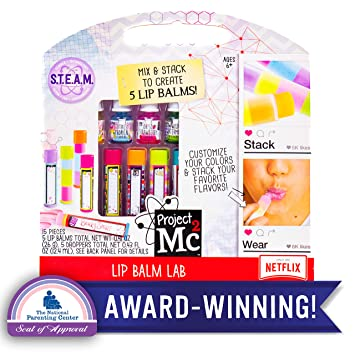 Project Mc2 Create Your Own Lip Balm Lab by Horizon Group USA, DIY STEM  Science Kit, Mix & Make Your Own 5 Flavored Lip balms, Multicolored