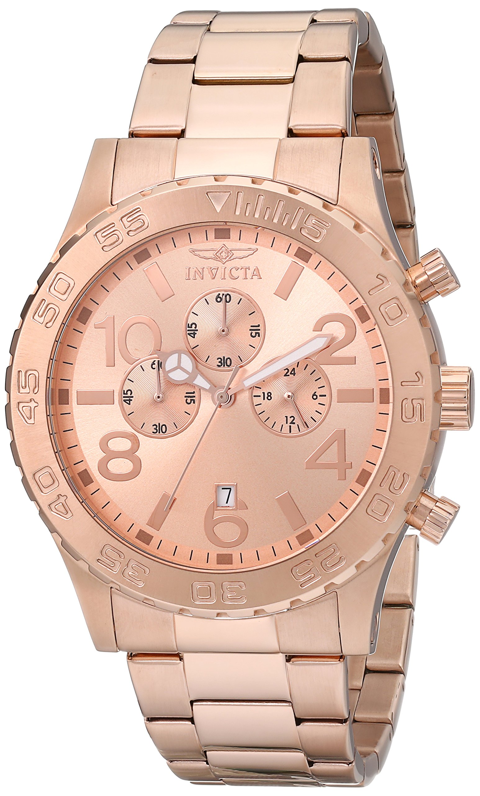 Invicta Men's 1271 Specialty Chronograph Rose Dial 18k Rose Gold Ion-Plated Watch by Invicta