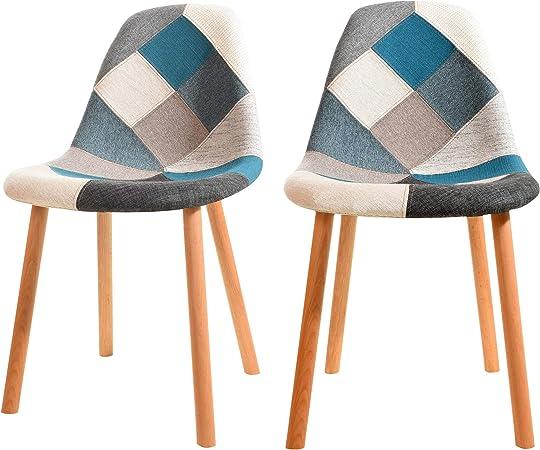 Rendez vous déco Chaise Arctik Patchwork Bleue (Lot de 2)