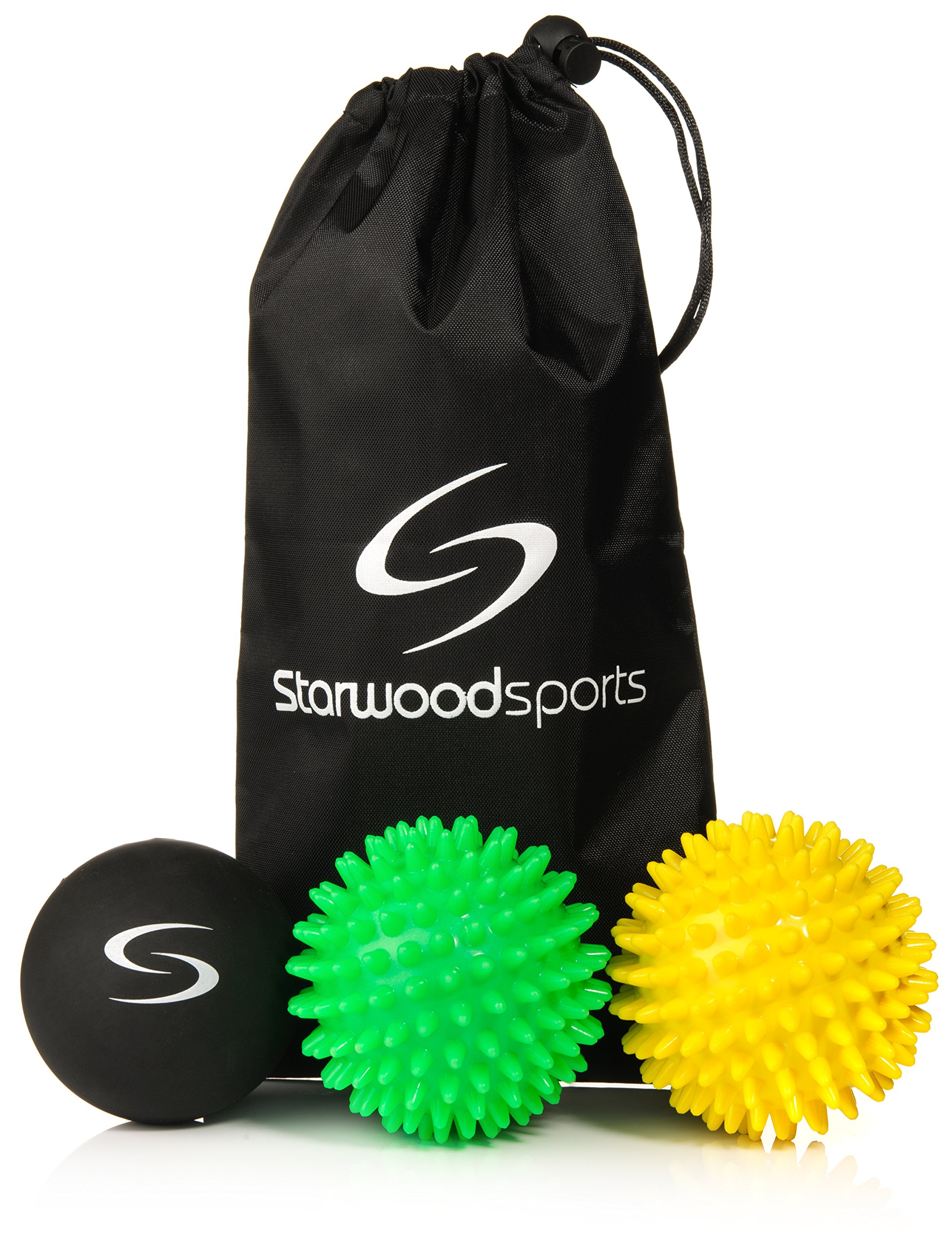 Starwood Sports Massage Ball Set - 6 cm Lacrosse Ball, 7 cm Very Firm Spiky, 7 cm Medium Firm Spiky + Carry Bag