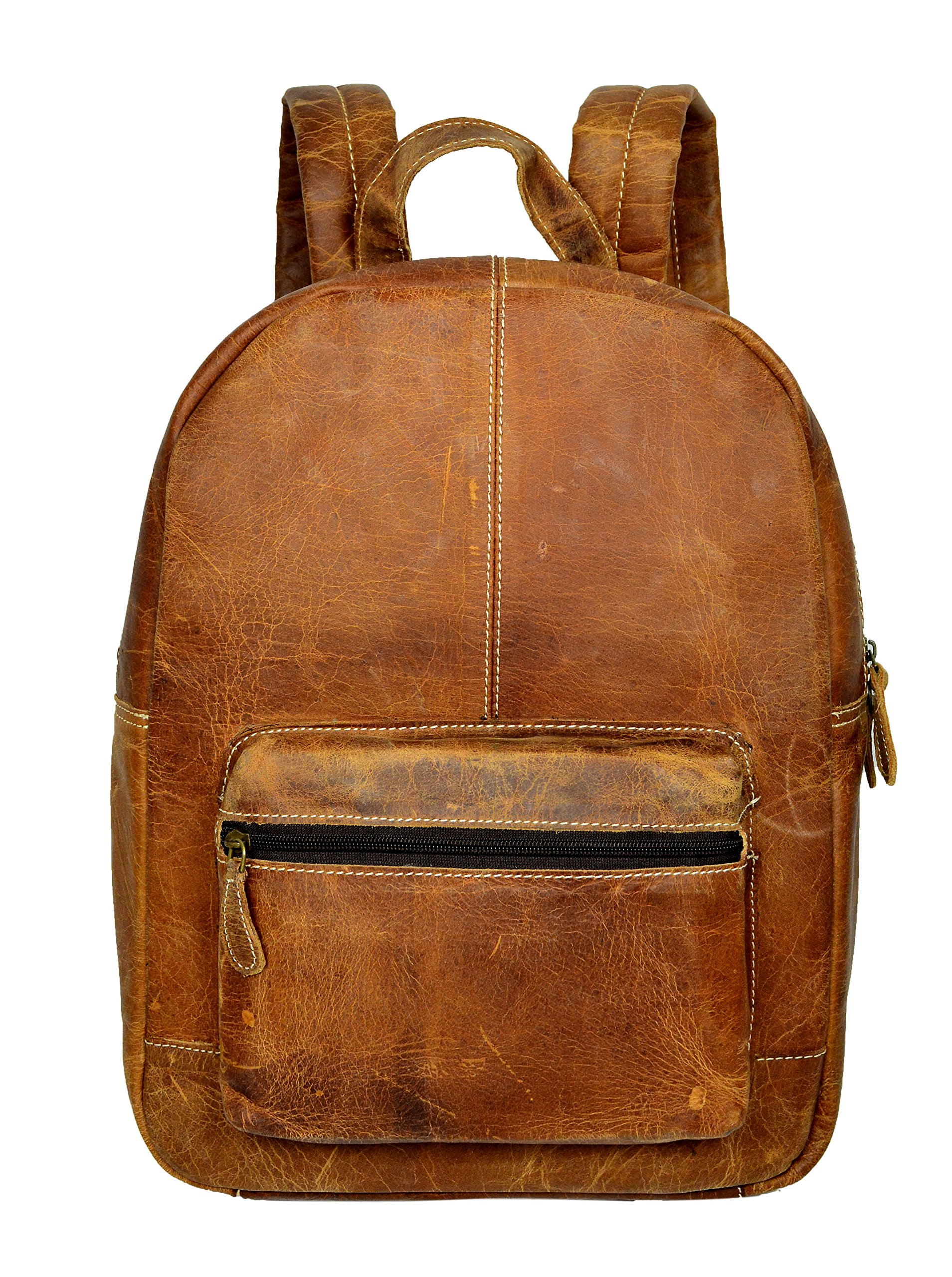 ADIMANI Vintage Crazy Horse Hunter Leather School College Backpack Bag Notebook Travel Bag 15x11 inches Unisex Bag