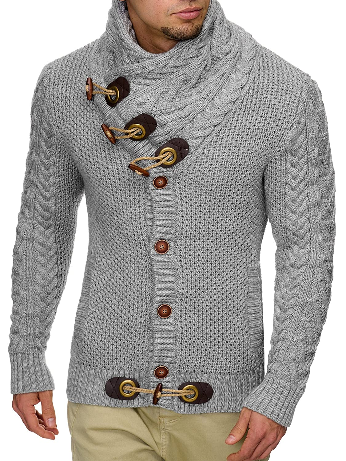 INDICODE Men's Knitted Sweater Cardigan Pullover Fort Worth White Black Grey Anthracite