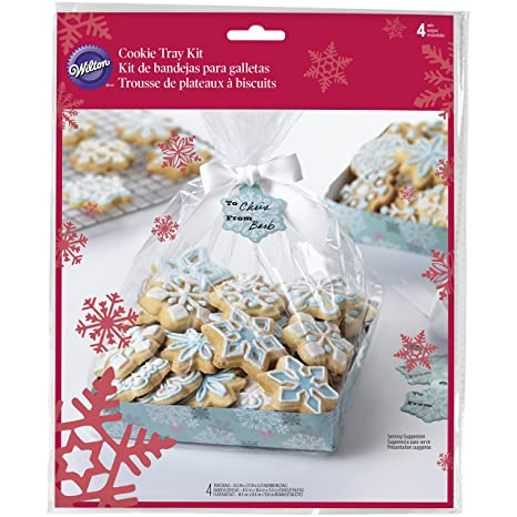 Wilton Bandeja para galletas Cool azul Navidad Kit de regalo, multicolor, Pack de 4