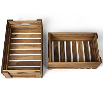 Vanage Wooden Crate For Fruit And Vegetables Set Of 2 Storage Boxes Made Oiled