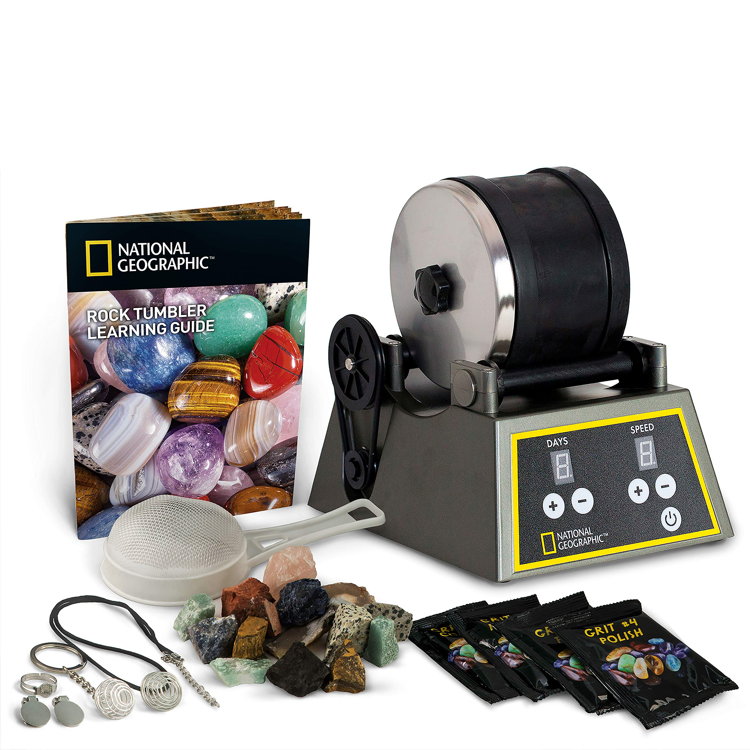 NATIONAL GEOGRAPHIC Professional Rock Tumbler Kit- Advanced features include Shutoff Timer and Speed Control - 2lb Barrel, 1lb Gemstones, 4 Polishing Grits, Jewelry Fastenings and Learning Guide by NATIONAL GEOGRAPHIC