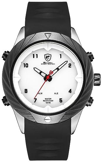 SHARK Hombre Cuarzo Relojes de Pulseras Silicona LED Fecha día 24 Horas Pantalla Alarma SH579: Amazon.es: Relojes