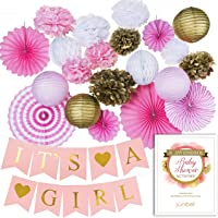 Premium Baby Shower Decorations for Girl Bundle & Large Its a Girl Pre-Strung Banner, Pink and Gold decoration Set + Free Printable Games Ebook by Junibel