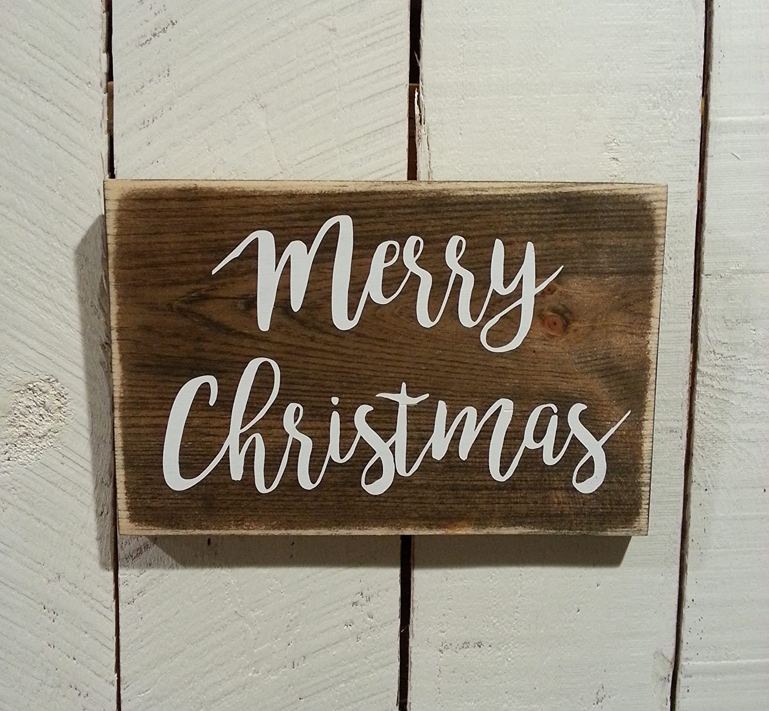 Rustic Distressed Merry Christmas Sign Handmade