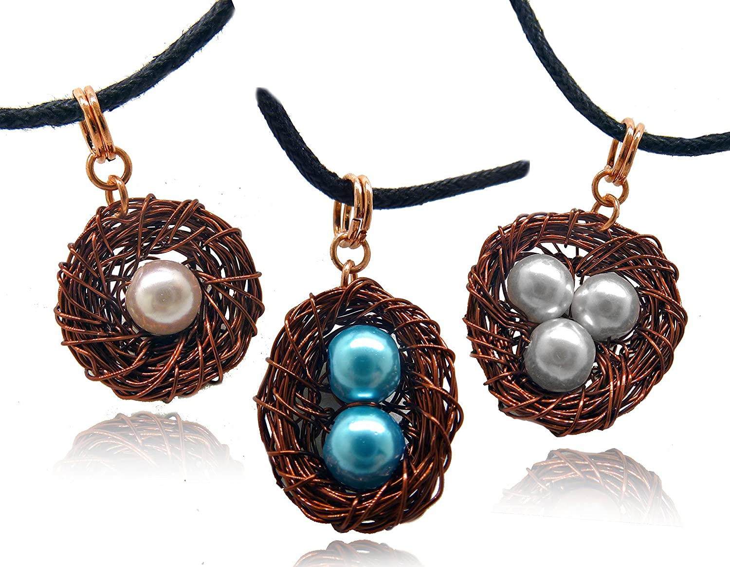 Custom Made Unique Handcrafted Gift Bird Nest Pin Wire Wrapped Silver with Pearl Eggs