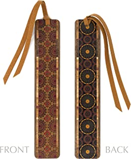 product image for Kaleidoscope Design On Double Sided Colorful Wooden Bookmark with Hand Cut Suede Tassel