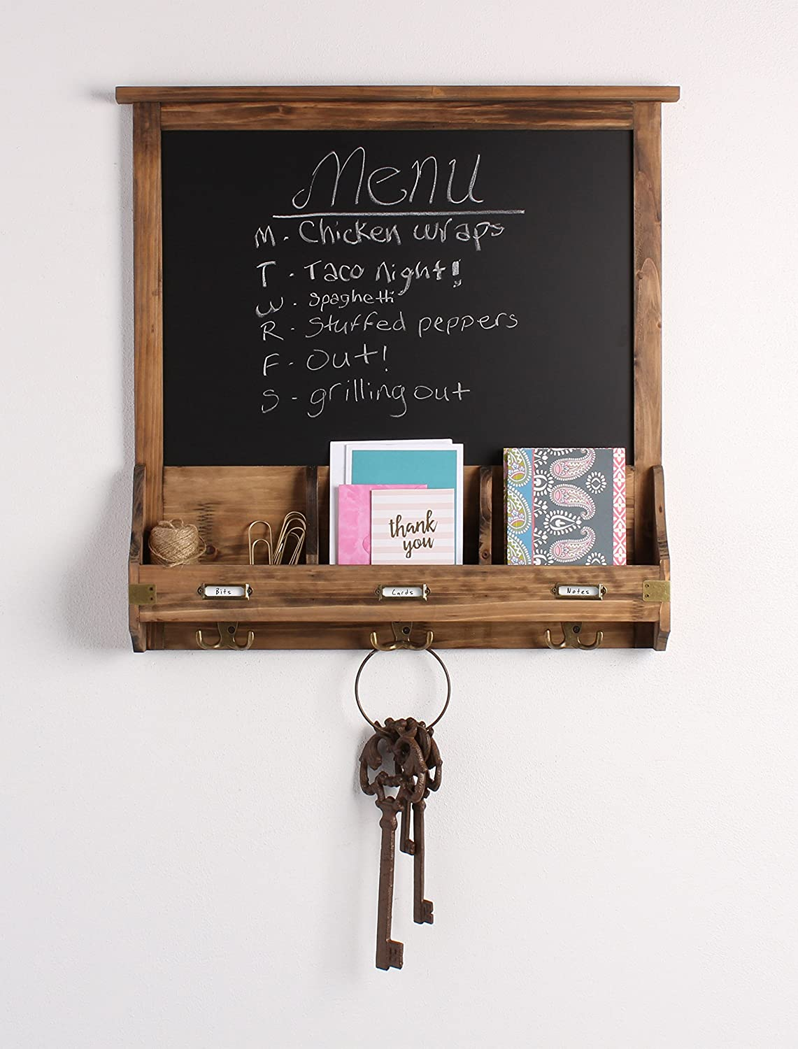 Kate and Laurel Stallard Decorative Rustic Wood Home Organizer with Chalkboard, Pockets, and Key Hooks, Brown
